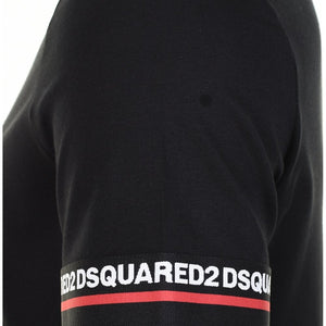 Load image into Gallery viewer, DSquared2 Stripe Cuff Logo T-Shirt: BLACK