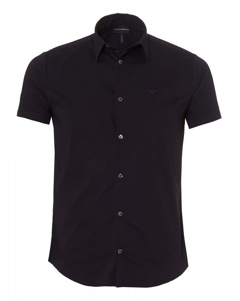 Load image into Gallery viewer, Emporio Armani Plain Fitted S/S Shirt Navy HemingCo