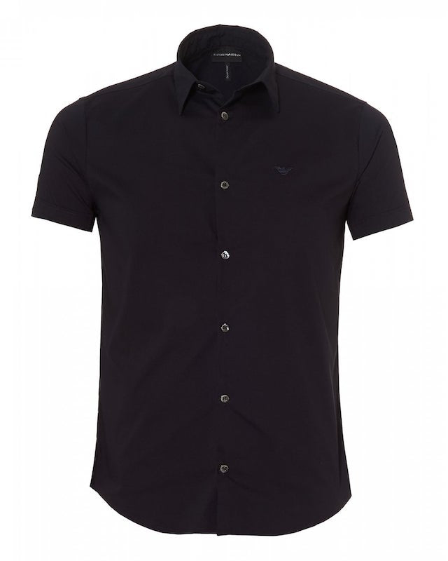 Emporio Armani Fitted Plain S/S Shirt: NAVY