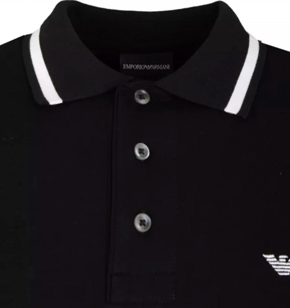 Load image into Gallery viewer, EA Cuff Logo S/S Polo Shirt Black Hemingco