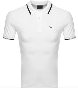 Load image into Gallery viewer, EA Cuff Logo S/S Polo Shirt White HemingCo