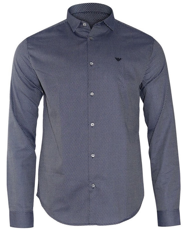 Emporio Armani Fantasia Patterned Shirt Blue HemingCo