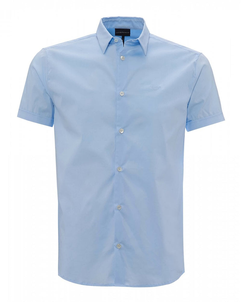 EA Fitted Plain S/S Shirt Blue Hemingco