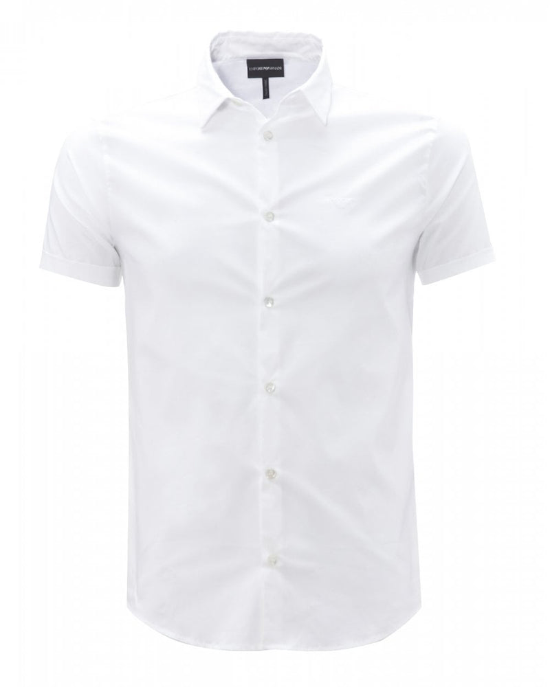 EA Fitted Plain S/S Shirt White Hemingco