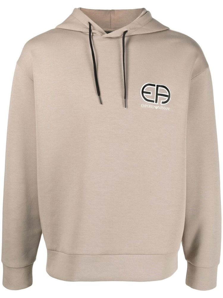 Emporio Armani Logo Hooded Track Top Dark Beige HemingCo