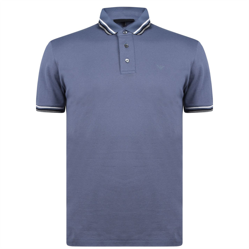 Emporio Armani Pattern Tipped Polo Shirt Blue HemingCo