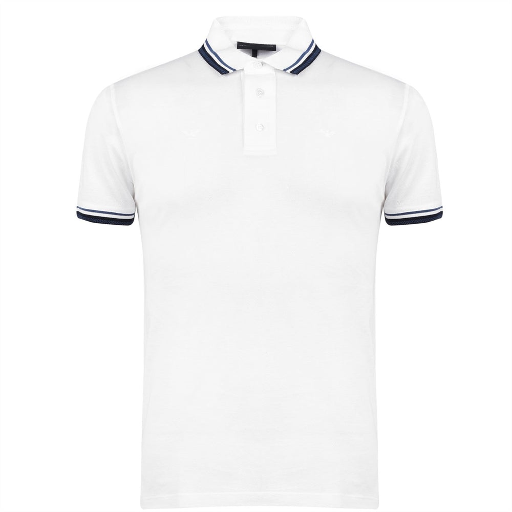 Emporio Armani Pattern Tipped Polo Shirt White HemingCo