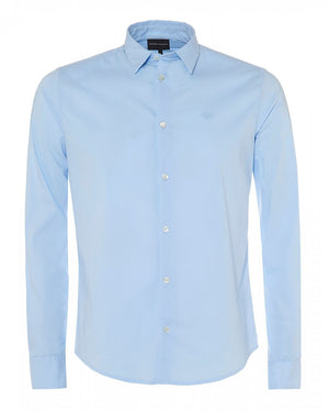 Emporio Armani Plain Fitted LS Shirt Blue HemingCo