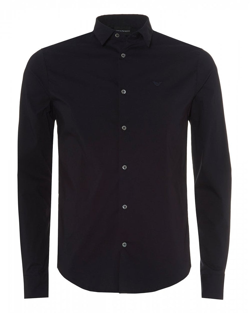 EA Plain Fitted Shirt Navy HemingCo 1