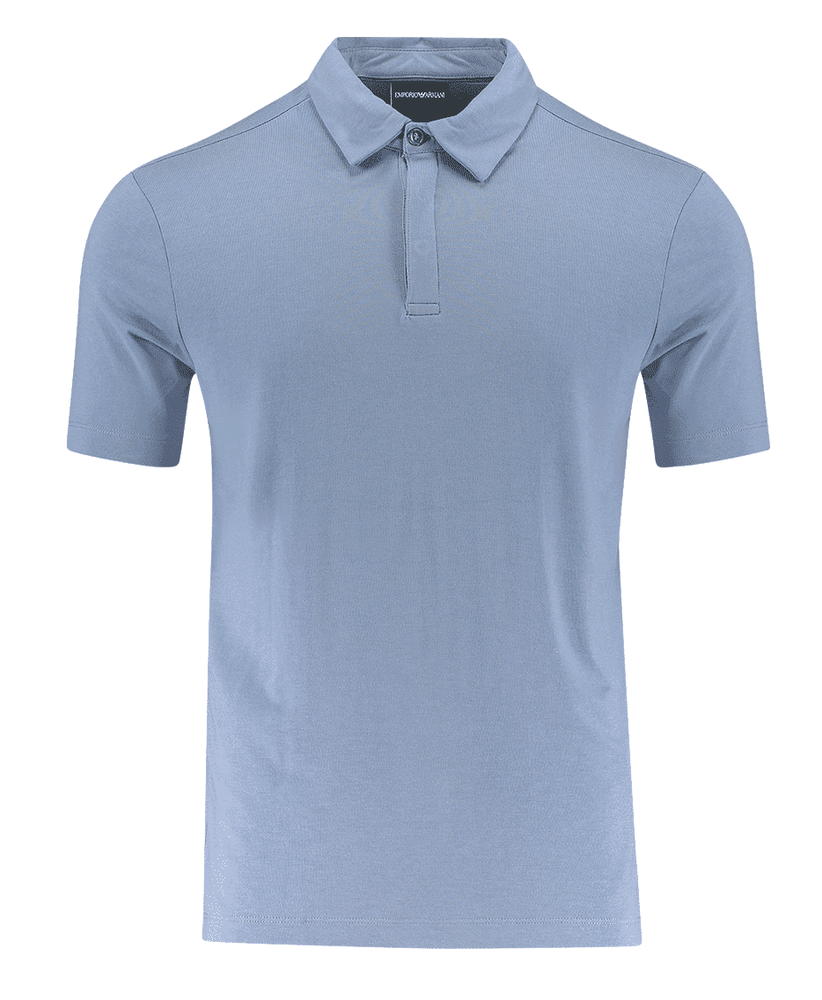 Emporio Armani Hidden Button Plackett Polo Shirt blue HemingCo