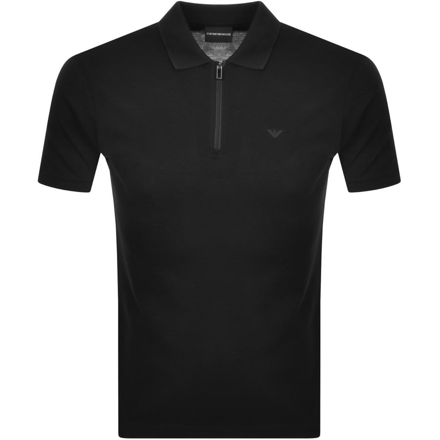 Emporio Armani 1/4 Zip Polo Shirt Black HemingCo