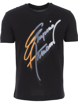 Load image into Gallery viewer, Emporio Armani Script Logo T-Shirt Black HemingCo