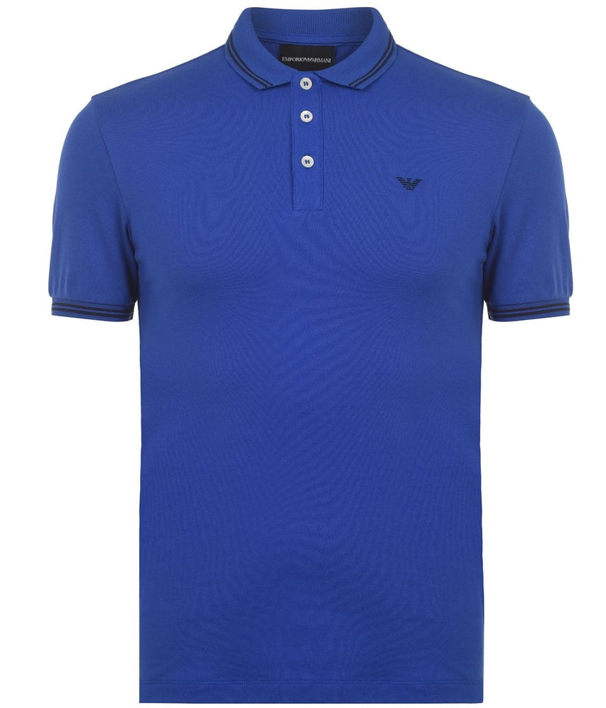 Load image into Gallery viewer, EA Tipped Polo Shirt Blue HemingCo