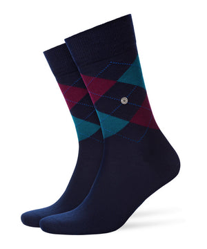 Burlington Edinburgh Original Wool Socks: NAVY/WINE