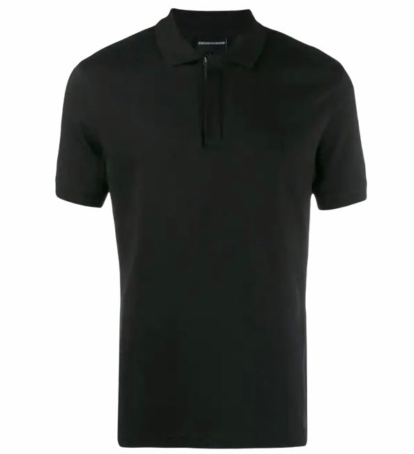 Emporio Armani Hidden Button Plackett Polo Shirt: BLACK