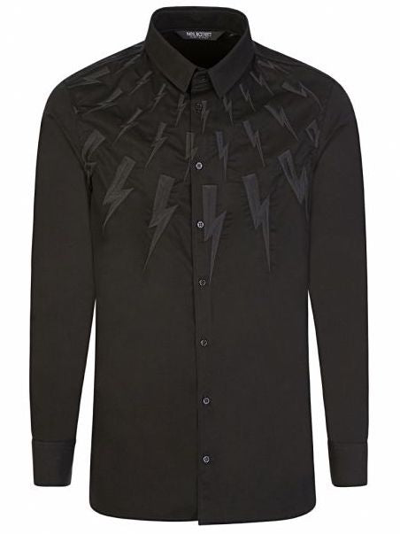 NB Embroidered Bolt L/S Shirt Black HemingCo