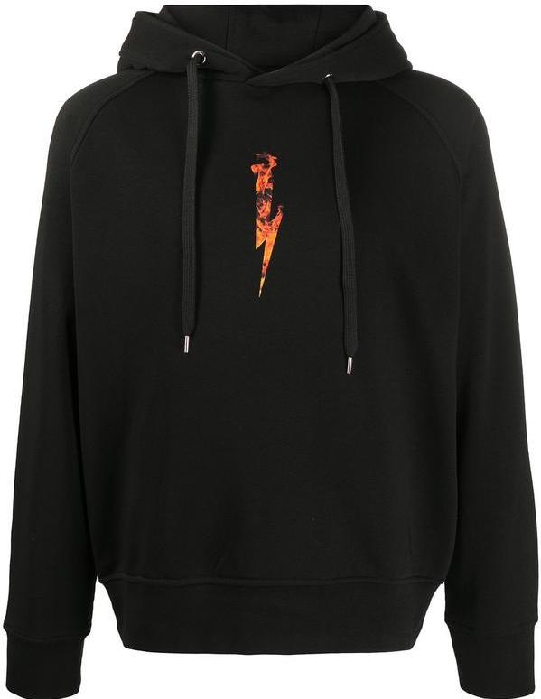 Neil Barrett Flame Bolt Hoodie Black HemingCo