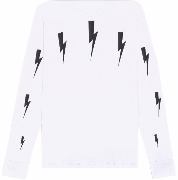Neil Barrett Halo Bolt White L/S T-Shirt Hemingco