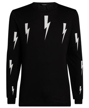 Neil Barrett Halo Bolt L/S Black T-Shirt Hemingco