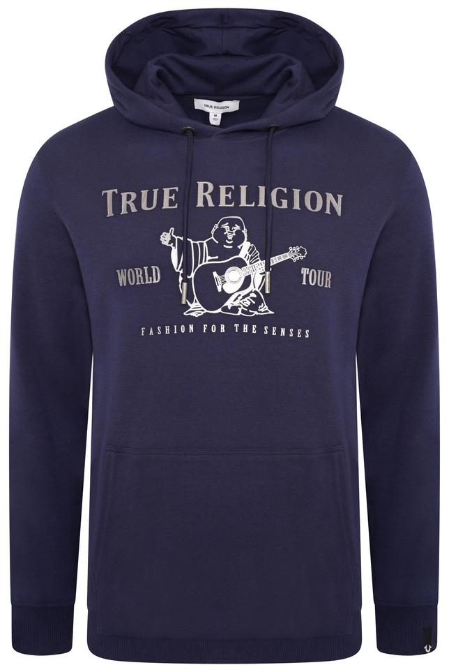 True Religion Metallic Buddha Popover Hoodie Navy HemingCo