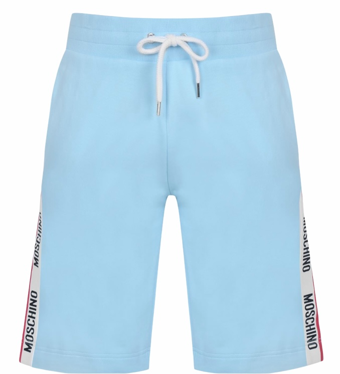 Moschino Tipped Tape Shorts Pale Blue HemingCo