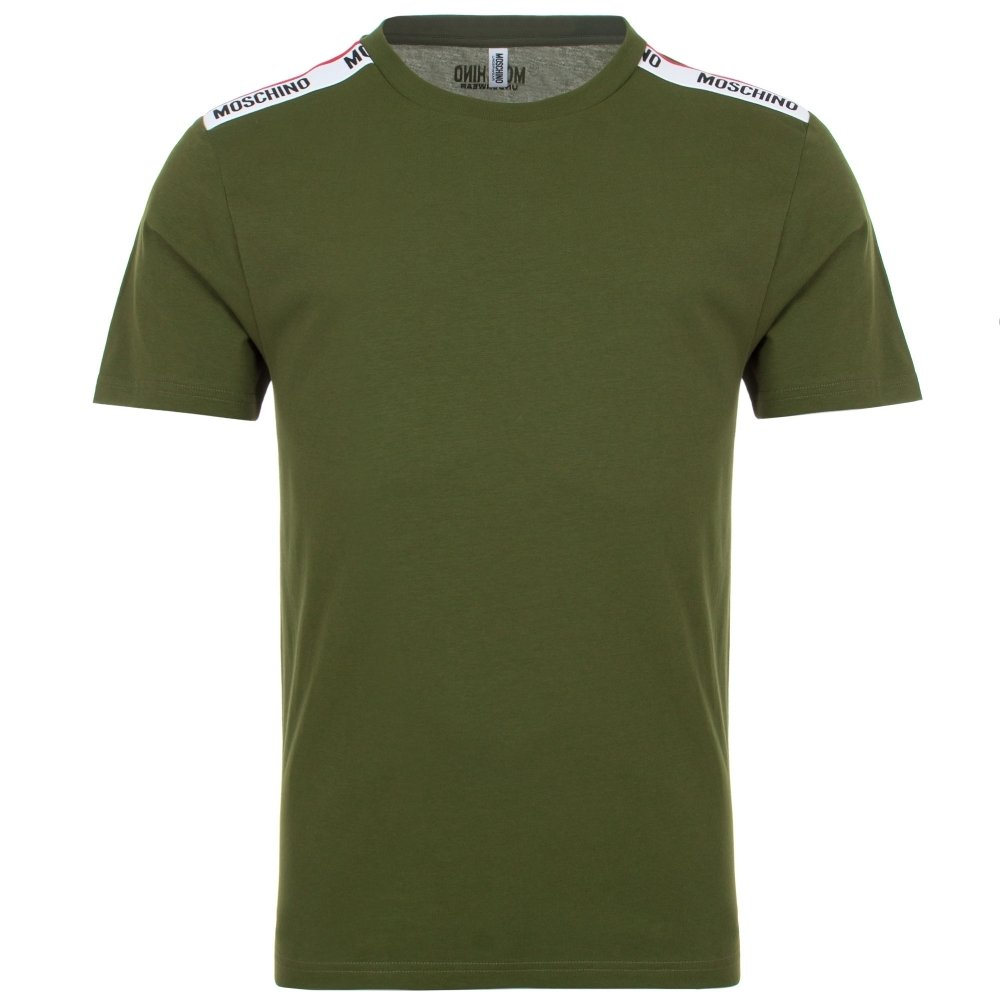Moschino Tipped Taped Green T-Shirt HemingCo