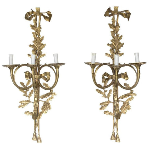 XL 19th Century Bronze French Wall Girandoles