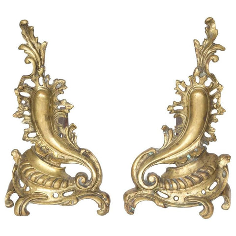 19th Century Gilded Bronze French Andirons