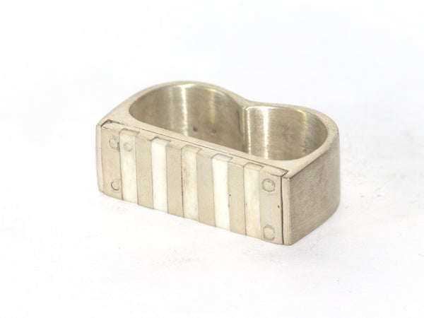 Sterling & Bone Double-Finger Ring