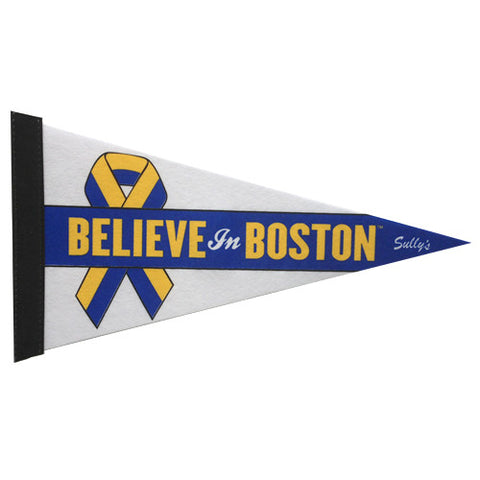 Believe in Boston - Blue & Yellow Benefit Ribbon Pennant
