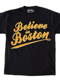 Believe in Boston - Black Script T-Shirt