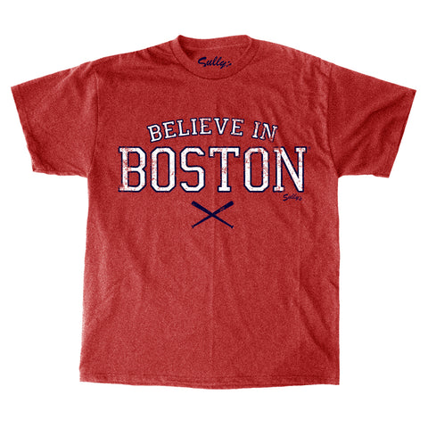 Believe in Boston - Heather Red Crossed Bats - T-Shirt