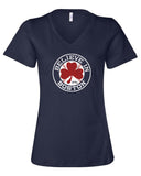 Believe in Boston Baseball Shamrock Relaxed Fit Women's V Neck