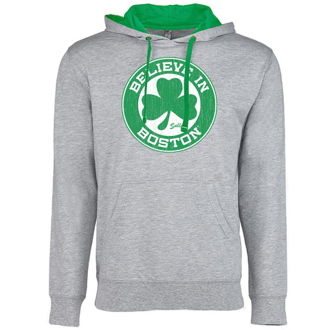 Believe in Boston - Basketball Shamrock - Lightweight Hoodie