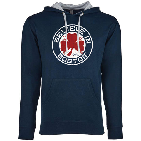 Believe in Boston - Baseball Shamrock - Lightweight Hoodie