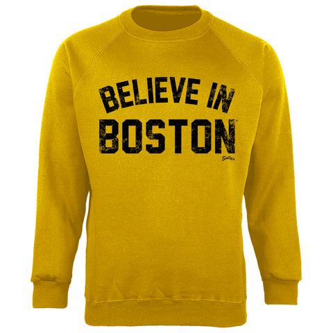 Believe in Boston - Heather Mustard - Crew Neck Sweatshirt