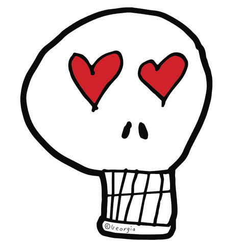 Die Cut Skull Heart Eyes Sticker