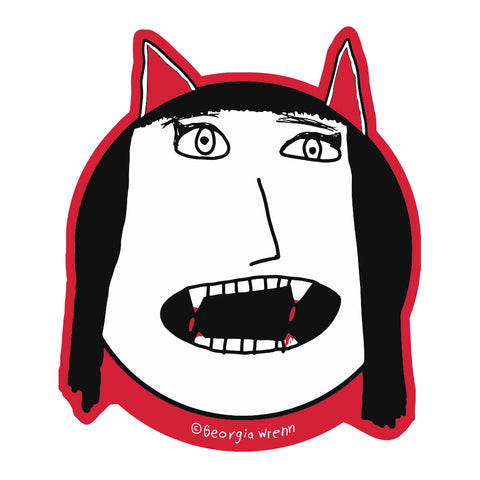 Die Cut Vampire Girl Sticker