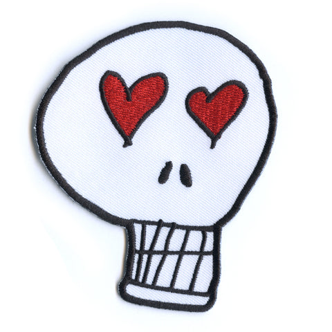Heart Eyes Skull Embroidered Patch