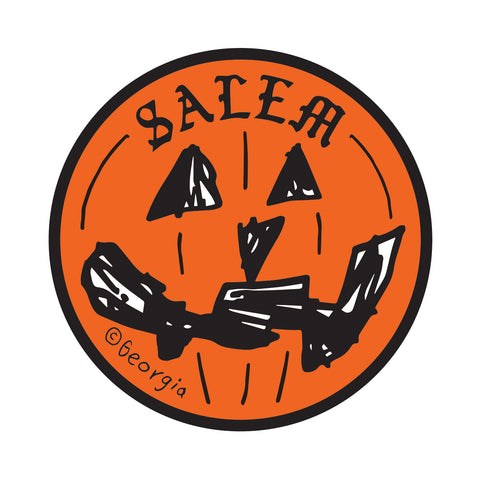 "Salem 4"" diameter Pumpkin Sticker"