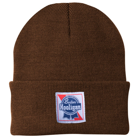 Boston Hooligan Blue Ribbon Woven Label Beanie