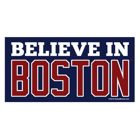 Believe In Boston 3x6 Navy Bumper Sticker