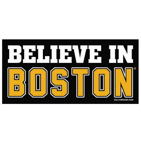 Believe In Boston 3x6 Black & Gold Bumper Sticker