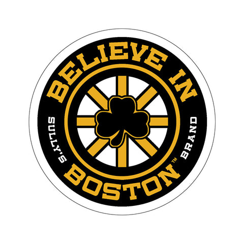Believe in Boston - Black Shamrock Sticker