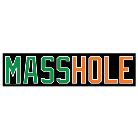 "MASSHOLE Green/Orange 3""x12"" Bumper Sticker"
