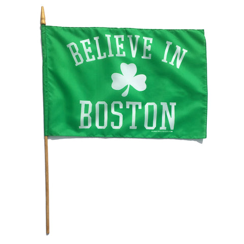 "Believe in Boston Classic Shamrock Handheld 12""x18"" Stick Flag"