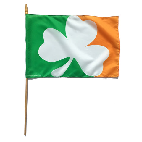 "Sully's Brand Irish Shamrock Handheld 12""x18"" Stick Flag"
