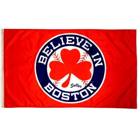 Believe in Boston - Red Shamrock 3'x 5' Flag