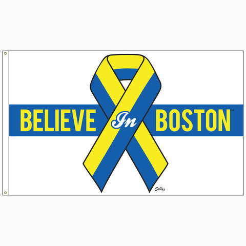 "Believe in Boston - Blue & Yellow 24"" x 36"" Benefit Flag"
