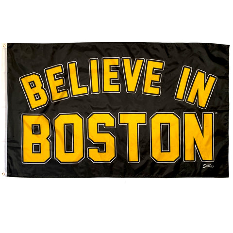 Believe In Boston - ARCHED Black & Gold 3' x 5' Flag
